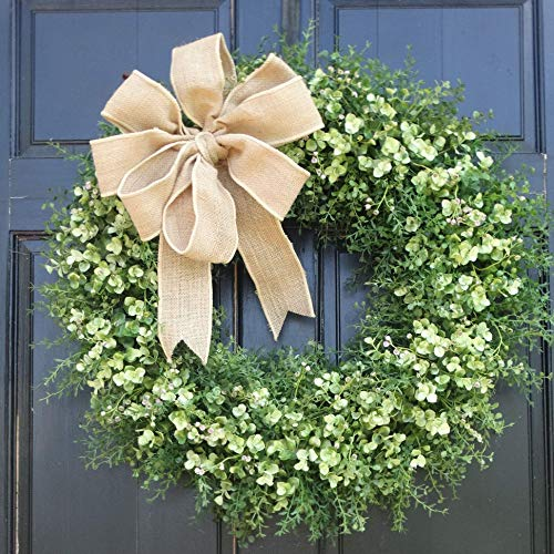 Large Eucalyptus and Mixed Greenery Wreath for Year Round Fall Summer Spring Front Door Decor; 24 Inch