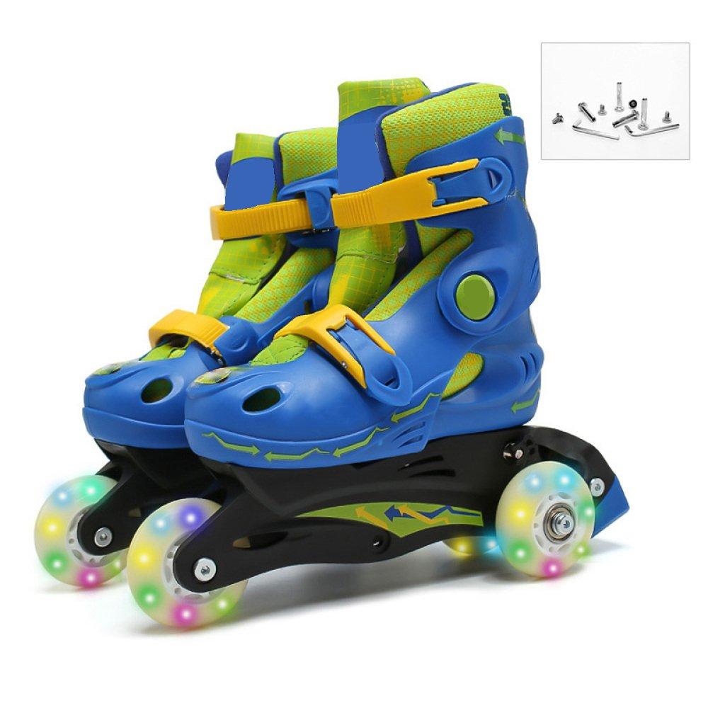 [ZCRFY] ローラースケート2 In 1デュアルユース調整可能なサイズの子供初心者の男の子の女の子フラッシュスケート安全な子供たちのスケート ブルー L