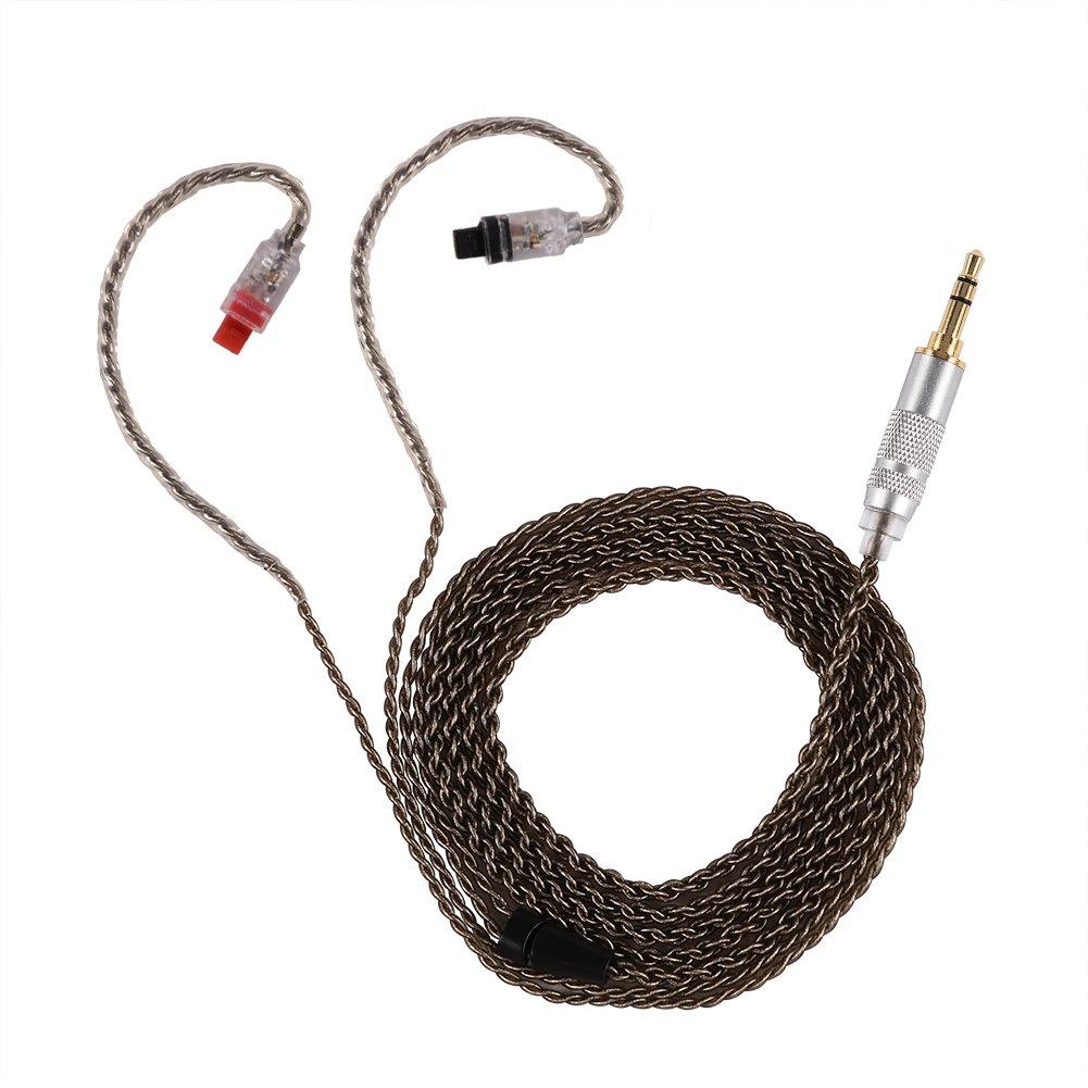 Zerone Casque Audio C/âble plaqu/é Argent /Écouteurs C/âble dextension C/âble Audio et Micro D/étachable pour Audio-Technica Ath-im50/Im70/Im01/Im02/Im03/Im04/Noir Droite