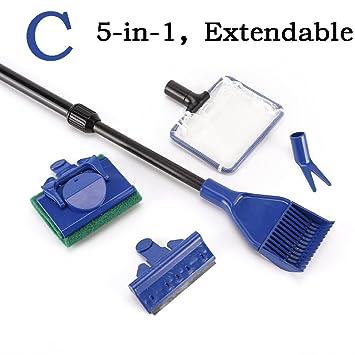 CCCYMM 5 en 1 Kit limpiador de pinceles de cristal para acuario y pecera: Amazon.es: Productos para mascotas
