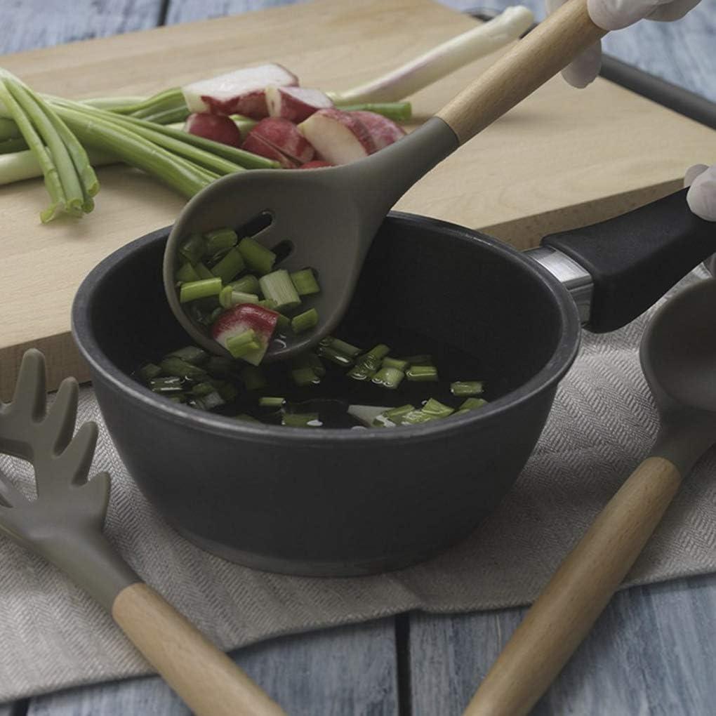 Yangge Yujum Spatola di Legno Mestolo in Silicone scanalato Pala Spoon No-Stick Casa Cucina Strumenti di Cottura