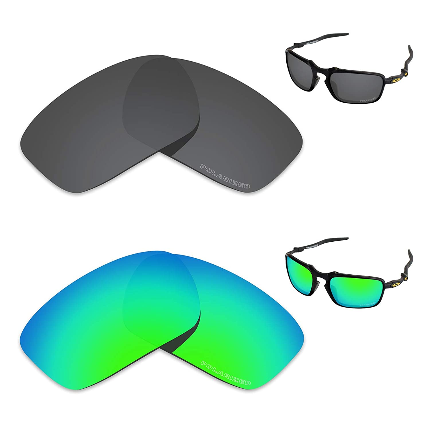 0d796e9367069 Amazon.com  Tintart Performance Replacement Lenses for Oakley Badman  Polarized Etched - Value Pack  Clothing