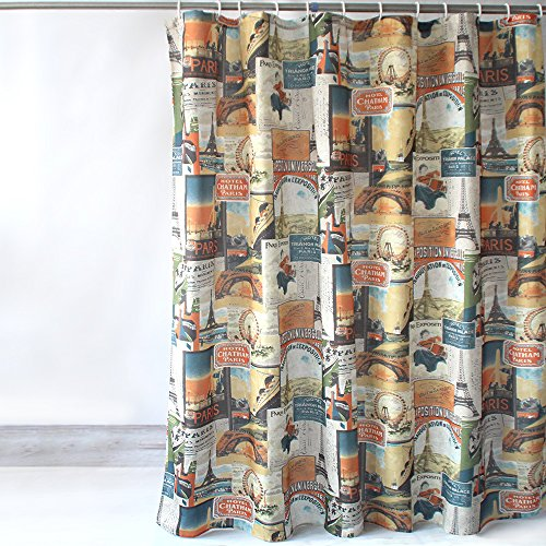Eforcurtain Retro Eiffel Tower Waterproof Shower Curtain No More Mildew for Boys, Heavy Duty Fabric Patchwork Bathroom Curtain with Free Hooks Standard Size 72 x 72 Inch, - Map Tower Water