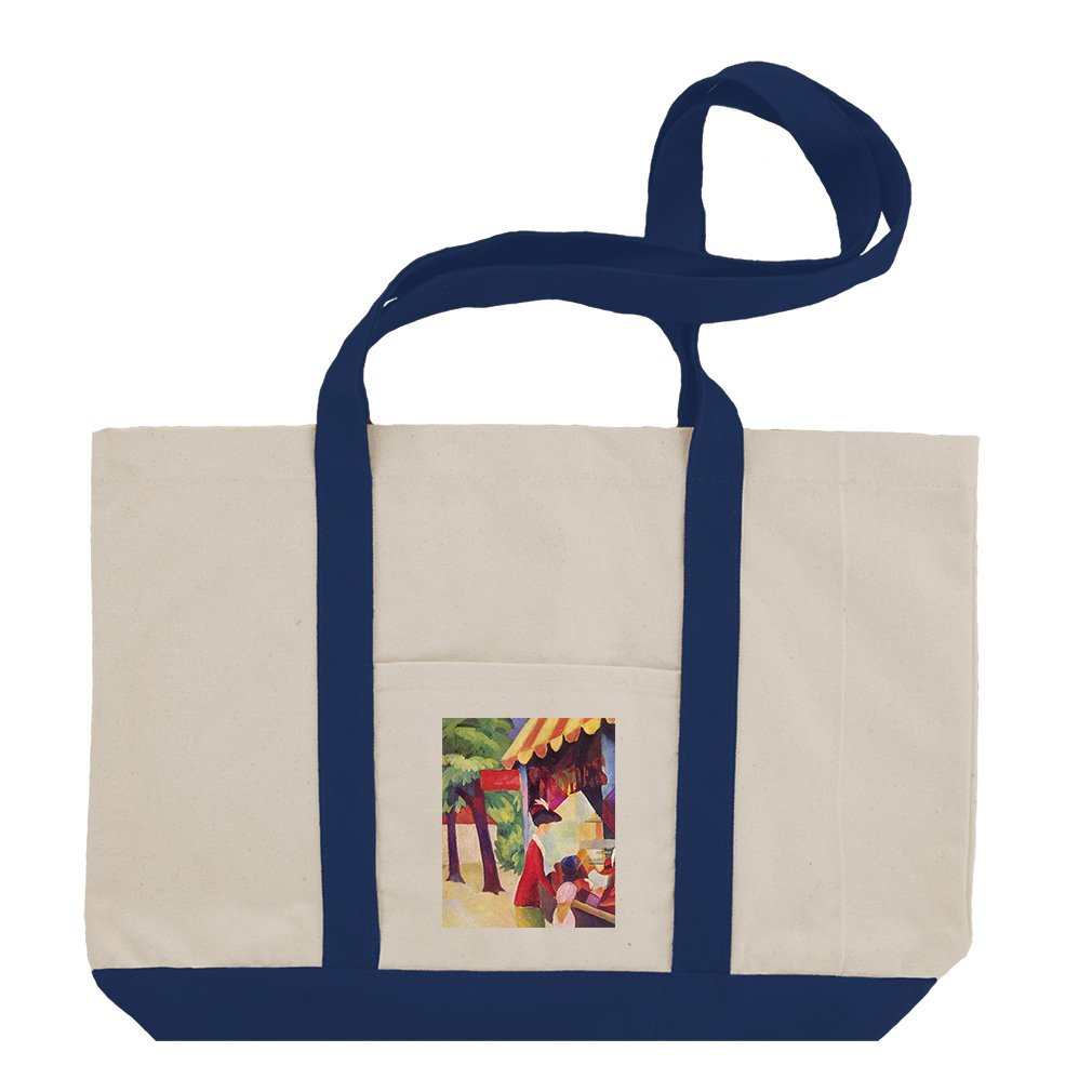 Hutladen Woman Jacket Child (Macke) Cotton Canvas Boat Tote Bag - Royal Blue by Style in Print