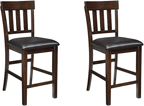 Amazon Com Signature Design By Ashley Haddigan 24 Counter Height Upholstered Barstool Set Of 2 Dark Brown Furniture Decor
