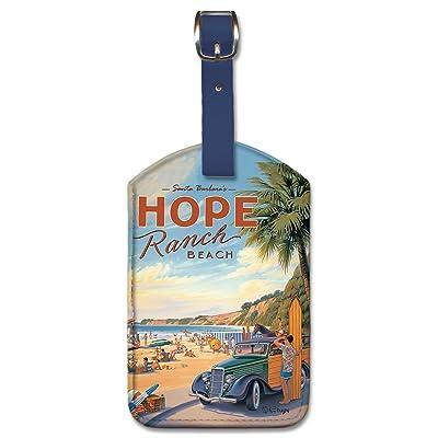 Leatherette Vintage Art Luggage Tag - Santa Barbara's Hope Ranch Beach by K. Erickson best