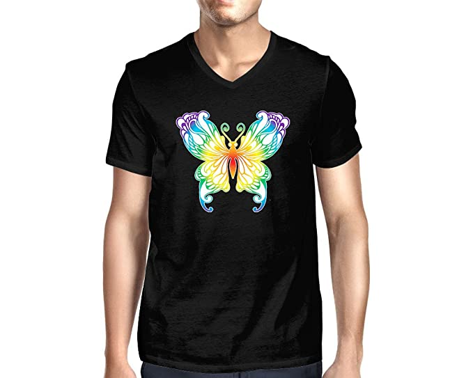 Amazon.com  HAASE UNLIMITED Men s Rainbow Butterfly V-Neck T-Shirt ... 02b8814eb