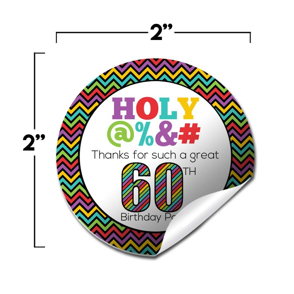 Holy 60th Birthday Party Thank You Sticker Labels 20 2 Circle Stickers By AmandaCreation Great For Favors Envelope Seals Goodie Bags