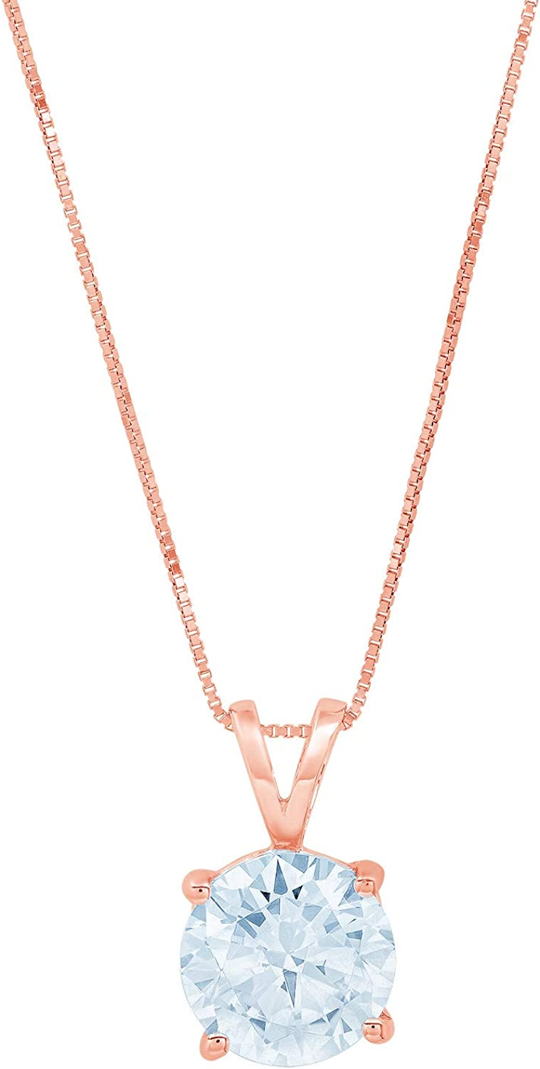 2.50 ct Round Brilliant Cut Ideal VVS1 Blue Simulated Diamond Pendant Necklace Bridal Anniversary 18 chain 14k Pink Solid Rose Gold