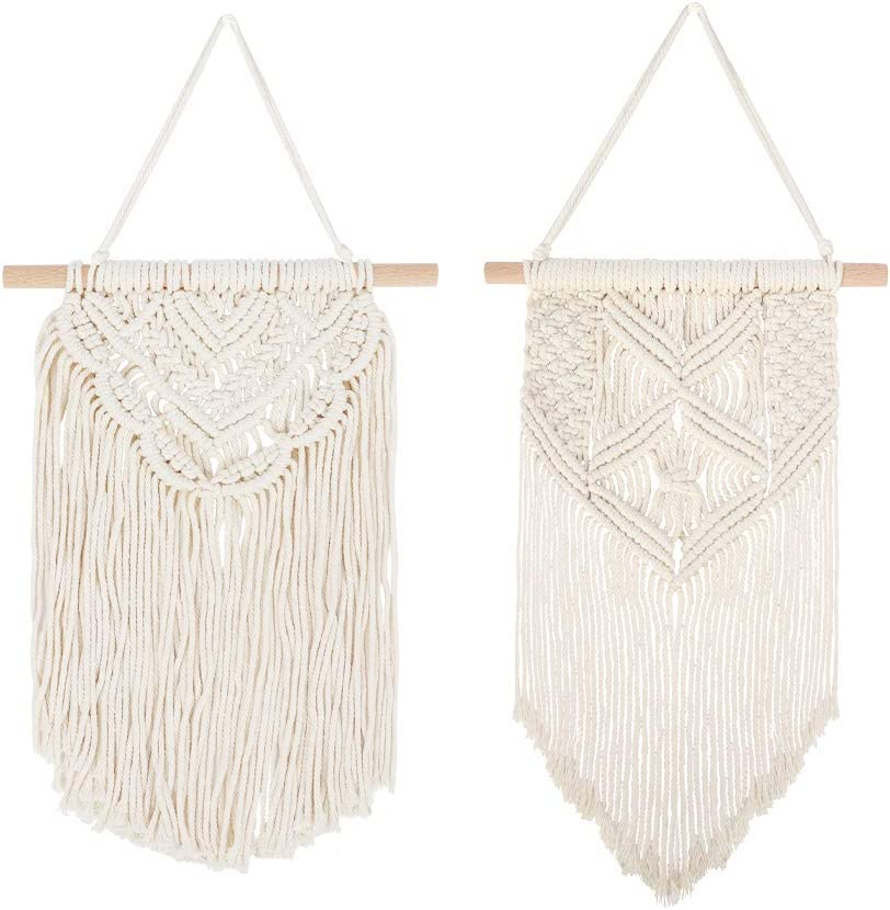 Alotpower Macrame Woven Wall Hanging, 2 Pcs Macrame Wall Hanging Art Woven Decor Boho Chic Wall Decor Home Decoration for Apartment Dorm Room Living Room Gallery (13