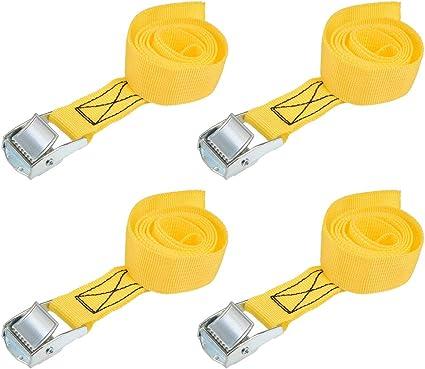 sourcing map Sangle Arrimage 2m x 25mm Charge Sangles Arrimage avec Boucle /à Cliquet Jusqu/à 800kg Gris 2Pcs