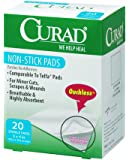 Curad Non-Stick Pads, 3 Inches X 4 Inches, 20 Count, (Pack of 2)