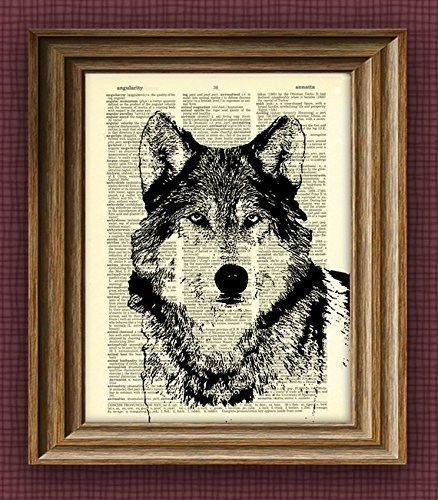 cool WOLF illustration beautifully upcycled dictionary for sale  Delivered anywhere in USA