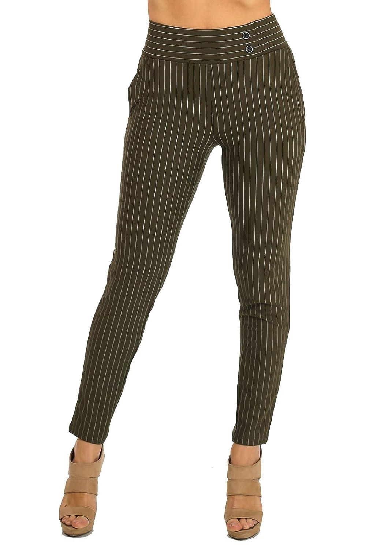 Dressy Skinny Leg Soft Material Olive High Waist Pants In Junior Sizes 10313W