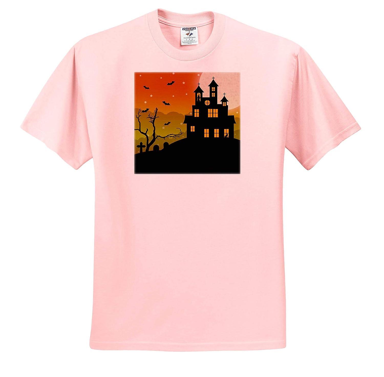 Adult T-Shirt XL 3dRose Janna Salak Designs Halloween Halloween Haunted House and Graveyard ts/_310667