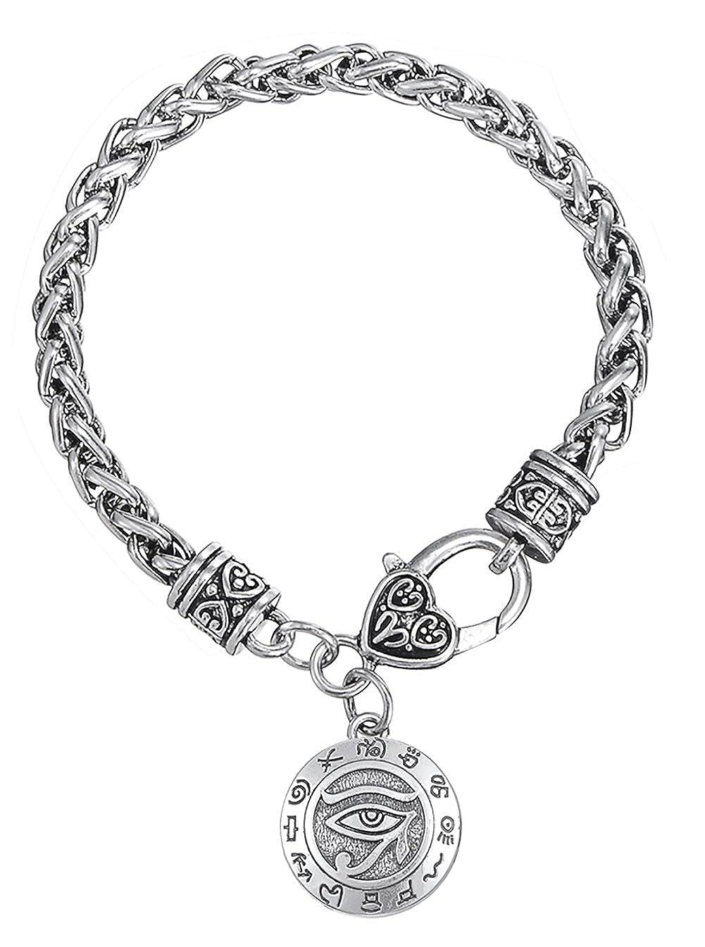 Dawapara Religieux Dieu égyptien The Eye of Horus avec l'écriture de l'Égypte Antique Pendentif de blé Bracelet chaîne YiYou B07B3R7X26_US