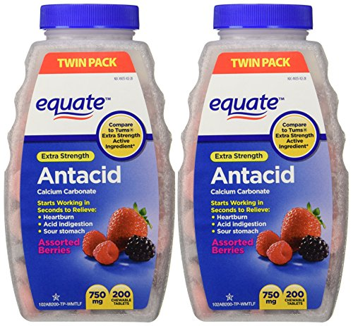 Extra Strength Antacid Chewable Tablets, 750mg, 200 Count Twin Pack