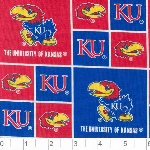 Sykel Enterprises Collegiate Cotton Broadcloth University of Kansas Jayhawks Fabric by The Yard