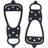 Flammi Unisex Traction Cleat Ice Snow Grips 8 Teeth Over Shoe Footwear Rubber Crampons