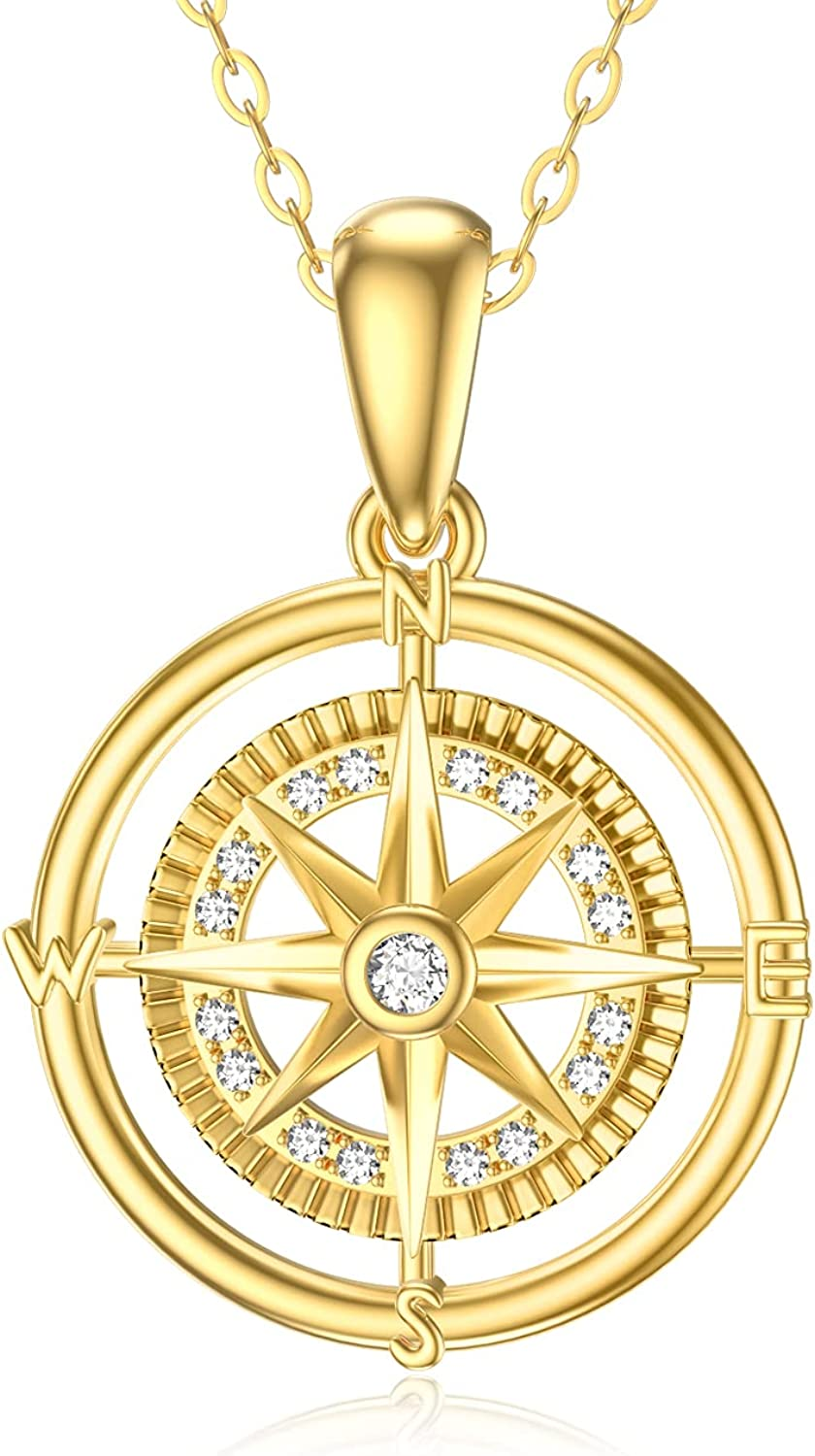 SISGEM 14K Real Yellow Gold Compass Dainty Pendant Necklace with Cubic Zirconia Fine Jewelry Birthday Present for Women Girls,16+2 Inch