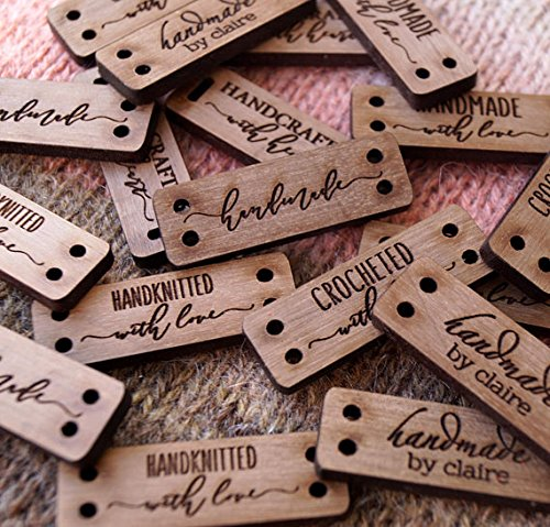 Clothing labels, custom wooden garment labels, personalized label tags, labels for handmade products, wood labels for knitted items, 25 pc