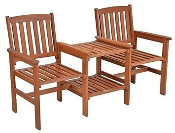 Gartenbank holz mit tisch  SSITG Tee-Bench Gartenbank mit Tisch 2 Sitzer Gartenbank Holz ...