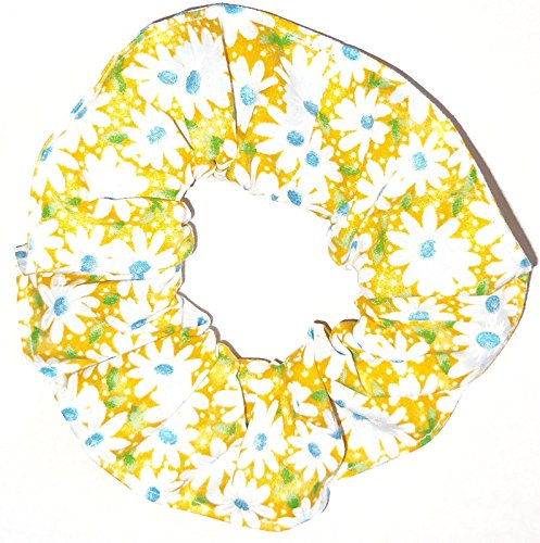 Floral Hair Scrunchie Yellow Daisies Flowers Handmade by Scrunchies by Sherry Ponytail