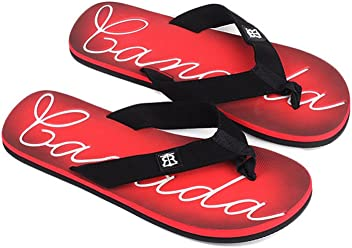 0d3cb633e Robin Ruth - Red   White Canada Script Press Men Flip Flop