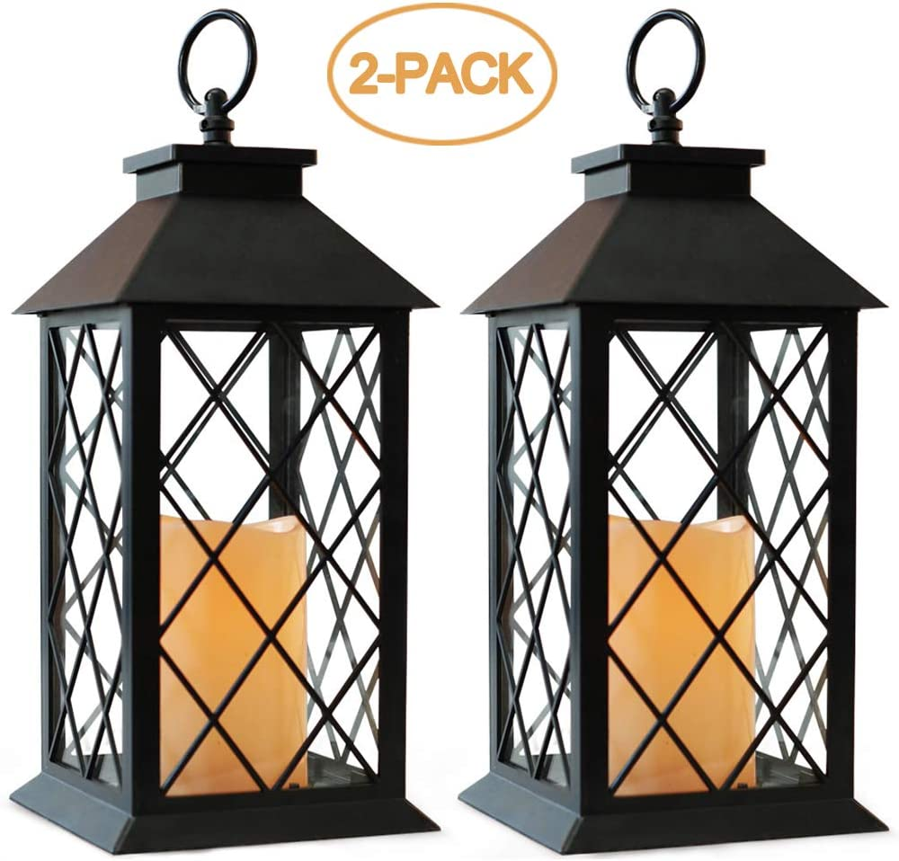 "Bright Zeal 2-Pack 14"" Vintage Candle Lantern With LED Flickering Flameless Candle (Black, 6hr Timer) - Battery Powered Candle Lantern Outdoor - Decorative Hanging Lantern For Patio - Tabletop Lantern: Home & Kitchen"