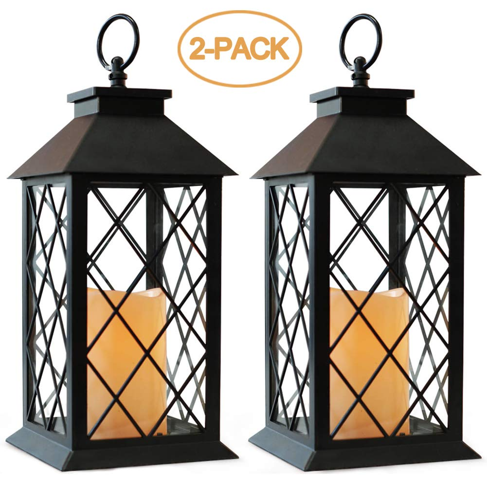 Bright Zeal 2-Pack 14'' Vintage Candle Lantern With LED Flickering Flameless Candle (Black, 6hr Timer) - Battery Powered Candle Lantern Outdoor - Decorative Hanging Lantern For Patio - Tabletop Lantern