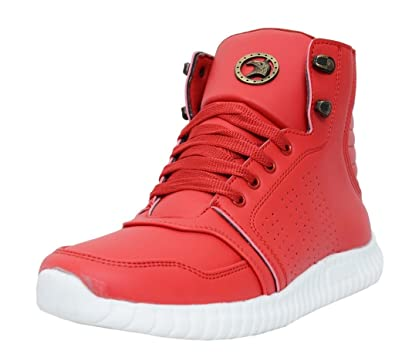Black Tiger Men s Boots Synthetic Leather Casual Shoes and Sneakers  8046-Red-13 635ce0a61