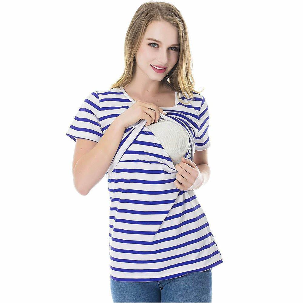 Ulanda-EU Stillshirt Umstandstop Sommer T-Shirt,Umstandsmode Umstandsshirt Schwangerschaft Top Stillen Kleidung Gestreiftes Still-top Nursing Tops Oberteile Layereddesign Wickeln-Schicht