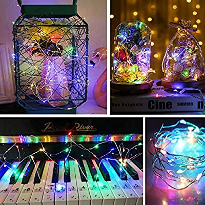 Anchayuan USB LED Lights String 33ft 4 Colors 8 Modes 100 LEDs (2-Pack) Remote Control Timer Waterproof Micro Flexible Copper Wire Indoor Outdoor Deco