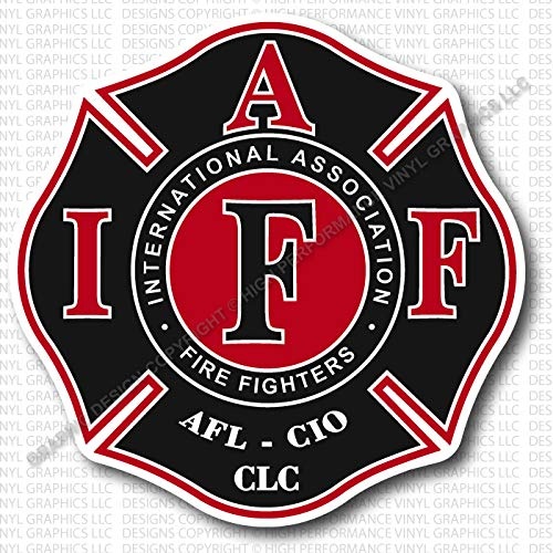- High Performance Vinyl Graphics LLC IAFF Union Firefighter Decal Black Red White 3.7