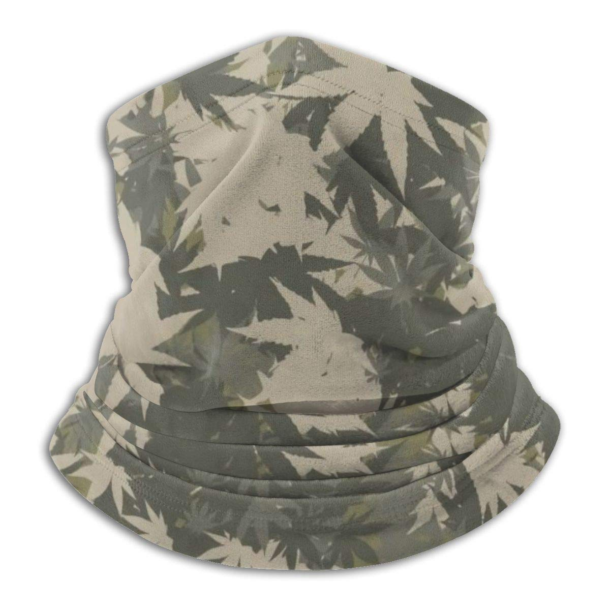 Cannabis Camouflage Pattern Outdoor Headwear Fleece Neck Warmer Comfortable Neck Gaiter Warmer Face Mask Winter Scarf For Cold Weather Winter Outdoor Sports