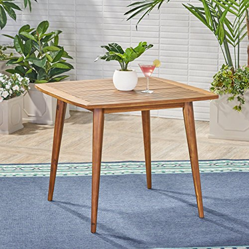 Great Deal Furniture Stanford Outdoor Square Acacia Wood Dining Table with Straight Legs, Teak