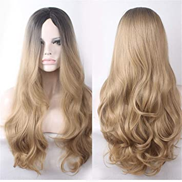 Amazon.com   Black Roots Blonde Wig Long Ombre Blue Pink Wig Curly  Synthetic Hair High Temperature Fiber Cosplay Wigs For Women Blonde  26inches   Beauty 85267cc292ce