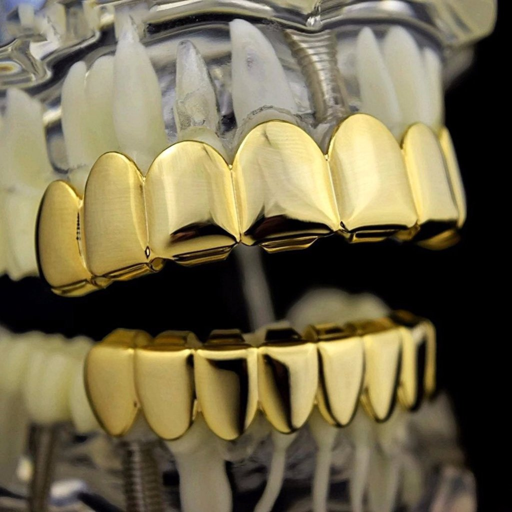 P Prettyia Dents Grills Bling Bouche Dents Caps Hip Hop 8 Haut Et Bas Dents Grilles Set