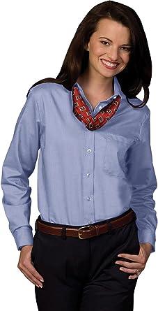XXS Grey Stripe Edwards Garment Womens Easy Care Long Sleeve Oxford Shirt