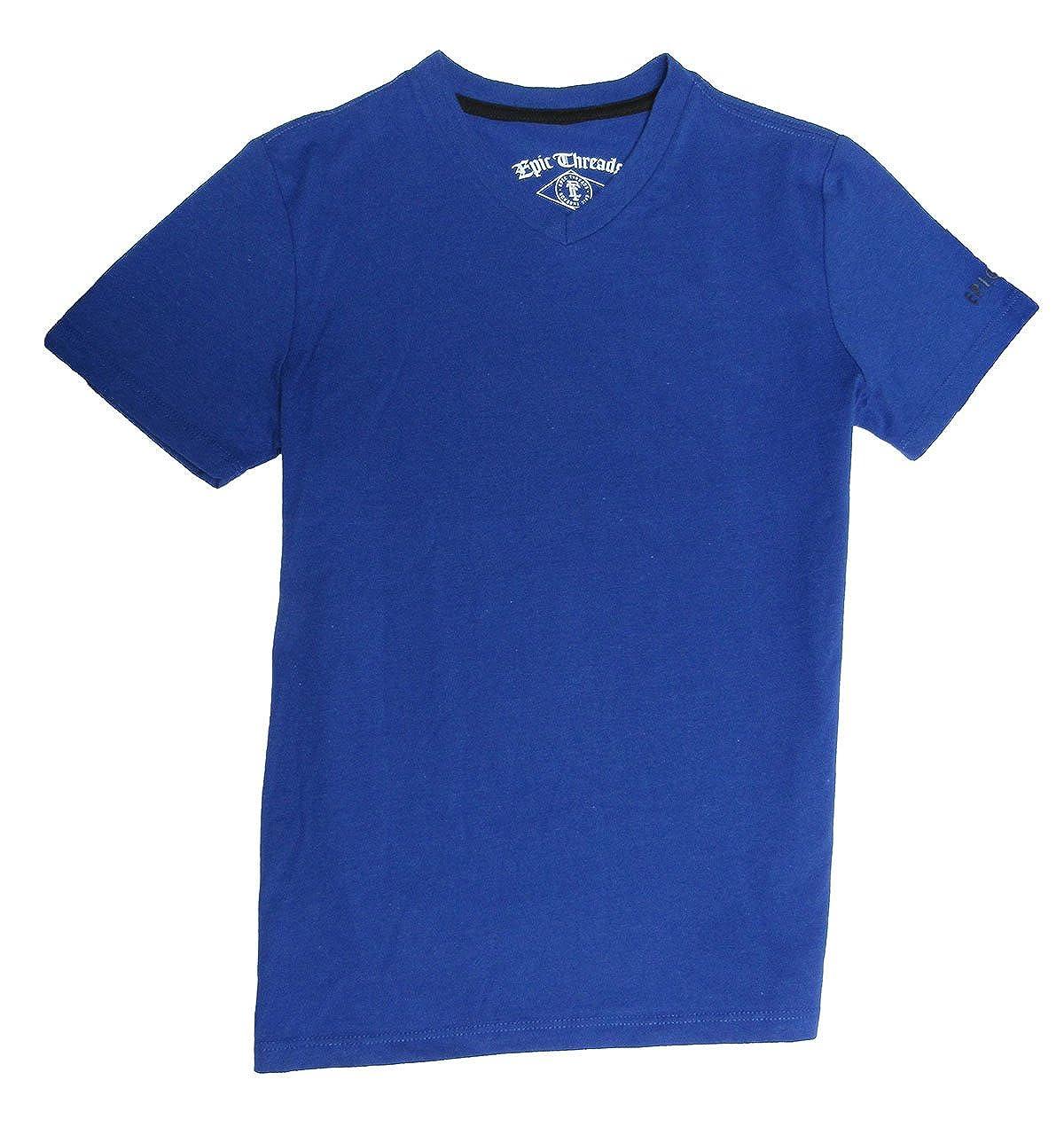 Epic Threads Boys V-Neck T-Shirt with logo on sleeve Lazulite