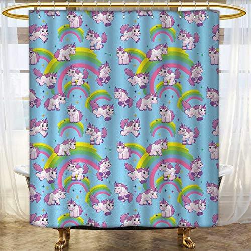 (Unicorn Shower Curtain Collection by Repeating Pattern Mystical Ancient Beast Purity Grace Friendship Symbol Graphic Art Satin Fabric sets bathroom 36
