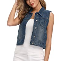 Wudodo Classic Denim Vest for Women Button Up Sleeveless Cropped Distressed Jean Jacket w Chest Pockets