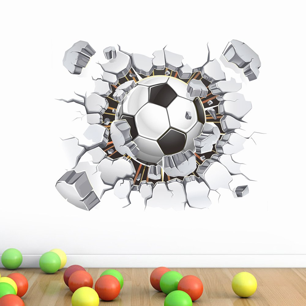 fantastic me 17x16 3D Soccer Football Cracked Wall Stickers Vinyl Decals Removable Decor for Living Room Kids Room Baby Nursery Boys Bedroom