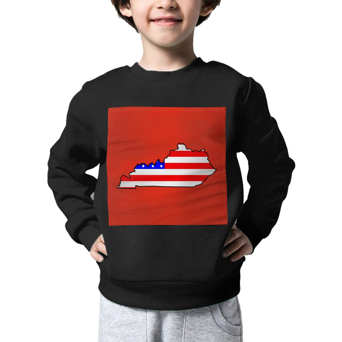 Childrens State of Kentucky Map American Flag Sweater Kids Pullover Sweaters