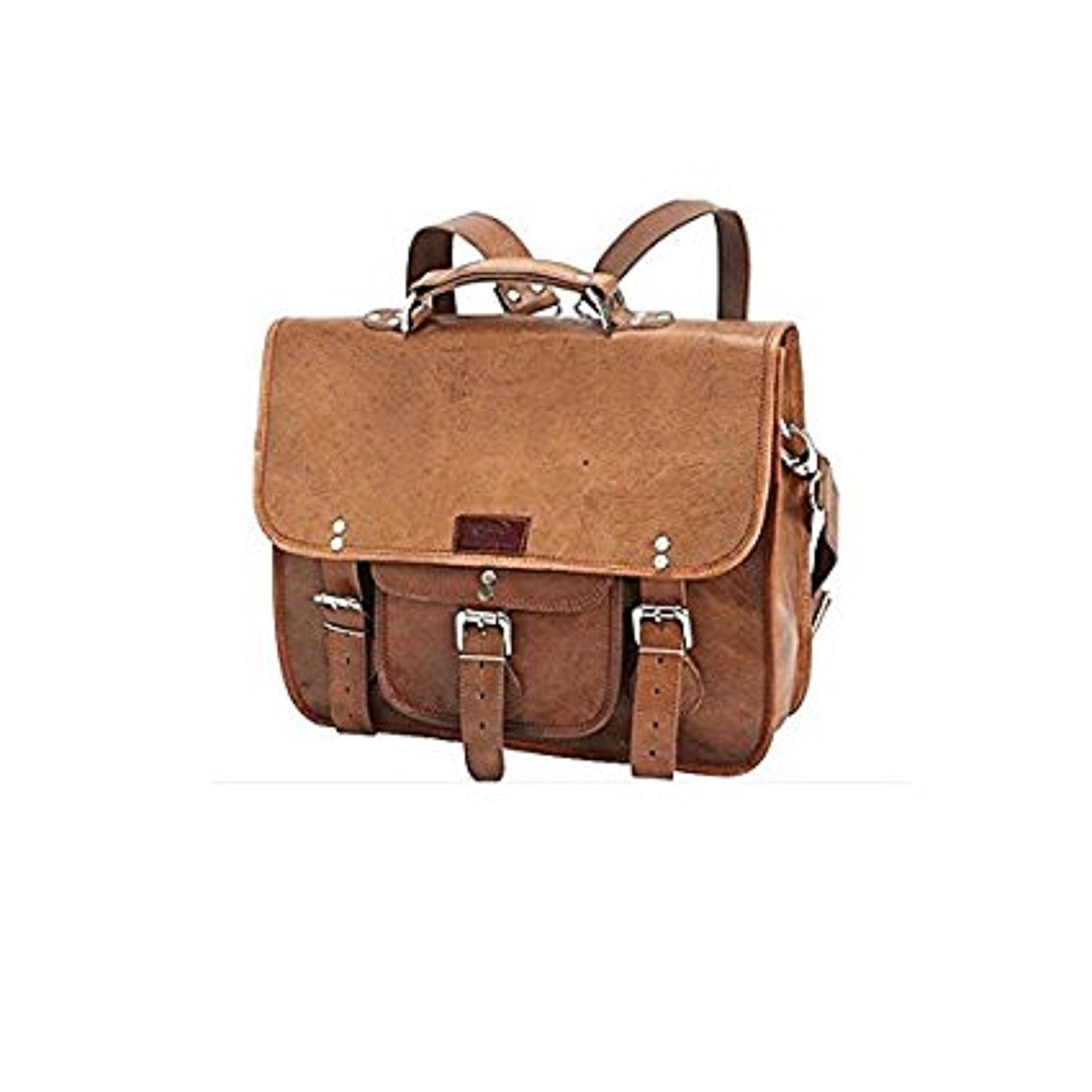 Brown Genuine Leather Contractor Briefcase Backpack Laptop Bag Professionals