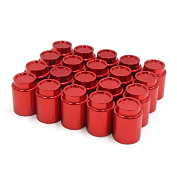 Sourcingmap 20pcs 19mm Red Plastic Vehicle Car Wheel Lug Nut Bolt Cover Caps Removal Tool