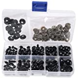 1 Box(100pcs) 6-12mm Black Plastic Safety Eyes Noses with Washers for Puppet Bear Doll Animal Stuffed Toys DIY Sewing Craft