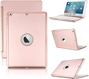 iPad Mini 2 Bluetooth Keyboard Case, 7 Colors LED Backlit Wireless Slim Keyboard Cover Case with Bluetooth Connectivity for iPad Mini 1/Mini 2/Mini 3 7.9 inch Tablet,Rose Gold