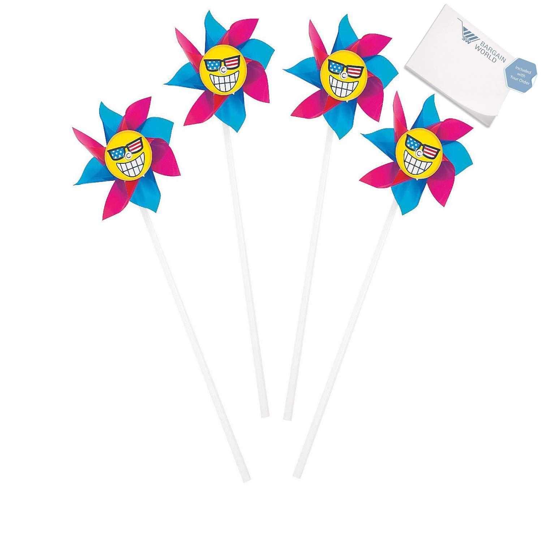 Bargain World Patriotic Emoji Pinwheels (With Sticky Notes)