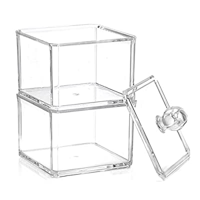 2 Layers Detachable Clear Square Cotton Pads Swabs Cosmetic Storage Cases Boxes Containers